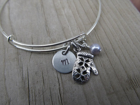 Mittens Charm Bracelet- Adjustable Bangle Bracelet with an Initial Charm and an Accent Bead of your choice