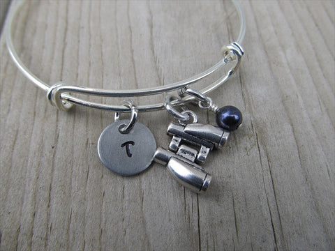 Binoculars Charm Bracelet- Adjustable Bangle Bracelet with an Initial Charm and an Accent Bead of your choice