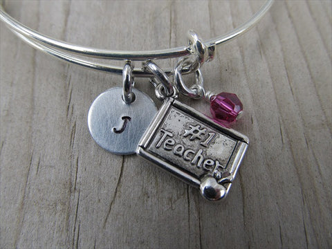 Teacher Charm Bracelet- Adjustable Bangle Bracelet with an Initial Charm and an Accent Bead of your choice