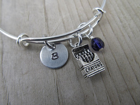 Crayon Box Charm Bracelet- Adjustable Bangle Bracelet with an Initial Charm and an Accent Bead of your choice