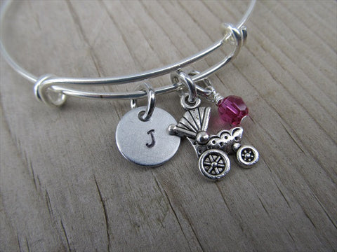 Baby Carriage Charm Bracelet- Adjustable Bangle Bracelet with an Initial Charm and an Accent Bead of your choice