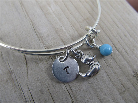 Duck Charm Bracelet- Adjustable Bangle Bracelet with an Initial Charm and an Accent Bead of your choice