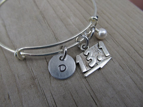 Half Marathon Charm Bracelet- Adjustable Bangle Bracelet with an Initial Charm and an Accent Bead of your choice