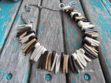 Neutral Wood Spike Necklace- Statement Necklace in Browns/Tans/Cream -READY to SHIP
