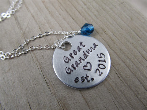 "Great Grandma Necklace- Hand-stamped ""Great Grandma est. (year of choice)"" with a stamped heart and an accent bead in your choice of colors"