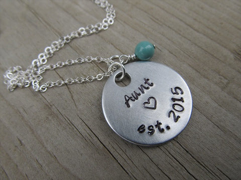 "Gift for Aunt- Aunt Necklace- Hand-stamped ""Aunt est (year of choice)"" with a stamped heart  - Hand-Stamped Necklace with an accent bead of your choice"