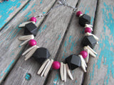 Pink Wood Necklace- Statement Necklace in Pink, Black, and Cream -READY to SHIP