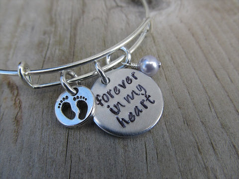 "Baby Loss/Miscarriage Bracelet- Hand-stamped bracelet, ""Forever in my heart"" with baby footprints charm   - Hand-Stamped Bracelet  -Adjustable Bangle Bracelet with an accent bead of your choice"