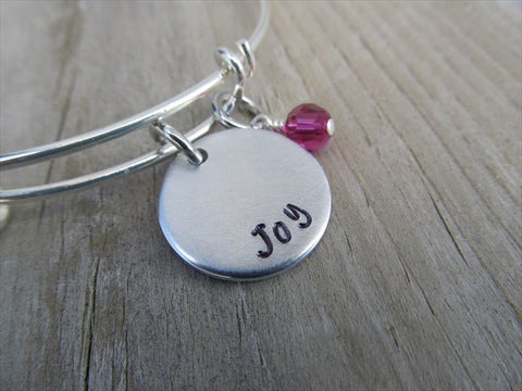 "Joy Inspiration Bracelet- ""Joy""  - Hand-Stamped Bracelet  -Adjustable Bangle Bracelet with an accent bead of your choice"