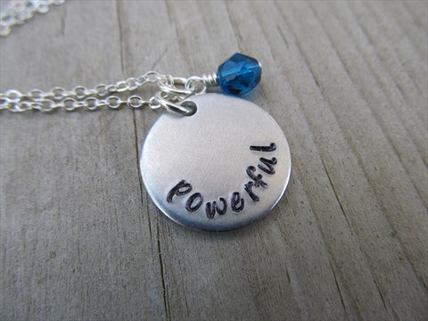 "Powerful Inspiration Necklace- ""powerful"" - Hand-Stamped Necklace with an accent bead in your choice of colors"