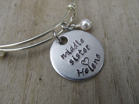 "Middle Sister Bracelet- Personalized Bracelet ""middle sister"" with a name of your choice and an accent bead of your choice"