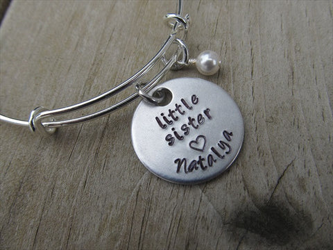 "Little Sister Bracelet- Personalized Bracelet ""little sister"" with a name of your choice and an accent bead of your choice"