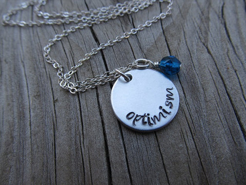 "Optimism Inspiration Necklace- ""optimism"" - Hand-Stamped Necklace with an accent bead in your choice of colors"
