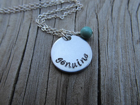 "Genuine Inspiration Necklace- ""genuine"" - Hand-Stamped Necklace with an accent bead in your choice of colors"