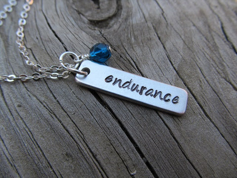 "Endurance Inspiration Necklace-""endurance"" - Hand-Stamped Necklace with an accent bead of your choice"