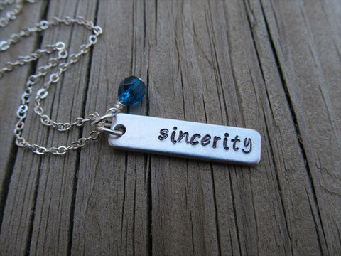 "Sincerity Inspiration Necklace-""sincerity"" - Hand-Stamped Necklace with an accent bead of your choice"