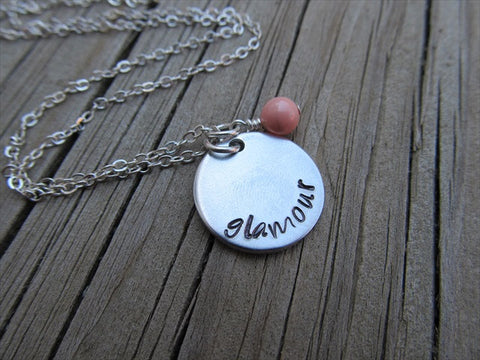 "Glamour Inspiration Necklace- ""glamour""- Hand-Stamped Necklace with an accent bead in your choice of colors"