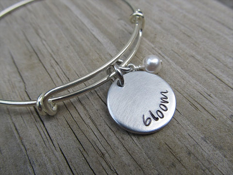 "Bloom Inspiration Bracelet- ""bloom""  - Hand-Stamped Bracelet  -Adjustable Bangle Bracelet with an accent bead of your choice"