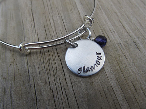 "Glamour Inspiration Bracelet- ""glamour"" - Hand-Stamped Bracelet  -Adjustable Bangle Bracelet with an accent bead of your choice"