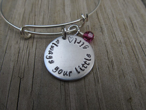 "Mother of the Bride Bracelet- ""always your little girl ♥"" - Hand-Stamped Bracelet- Adjustable Bangle Bracelet with an accent bead of your choice"