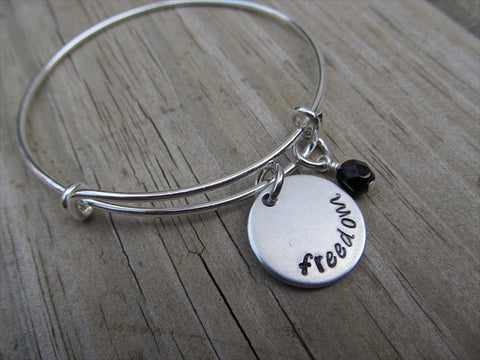 "Freedom Inspiration Bracelet- ""freedom"" - Hand-Stamped Bracelet  -Adjustable Bangle Bracelet with an accent bead of your choice"