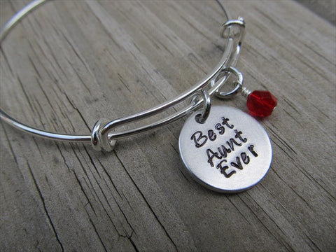 "Aunt Bracelet- ""Best Aunt Ever"" - Hand-Stamped Bracelet  -Adjustable Bangle Bracelet with an accent bead of your choice"