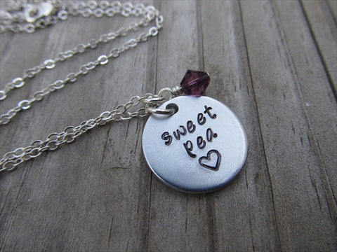 "Sweet Pea Necklace- ""sweet pea"" with a stamped heart- Hand-Stamped Necklace with an accent bead in your choice of colors"