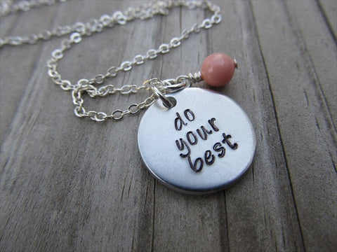 "Do Your Best Inspiration Necklace- ""do your best"" - Hand-Stamped Necklace with an accent bead in your choice of colors"