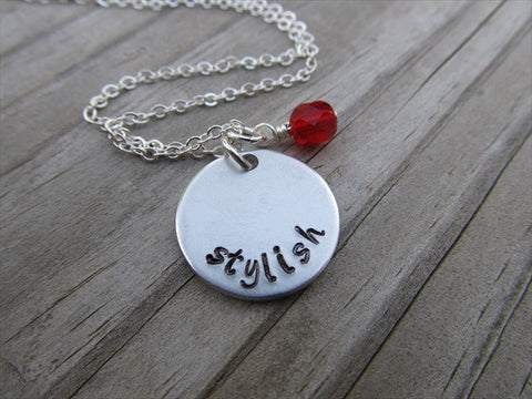 "Stylish Inspiration Necklace- ""stylish"" - Hand-Stamped Necklace with an accent bead in your choice of colors"