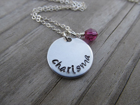 "Charisma Inspiration Necklace- ""charisma"" - Hand-Stamped Necklace with an accent bead in your choice of colors"
