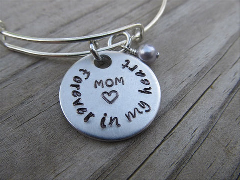 "Mom Memorial Bracelet- ""Mom ♥ Forever in my heart"" - Hand-Stamped Bracelet- Adjustable Bangle Bracelet with an accent bead of your choice"