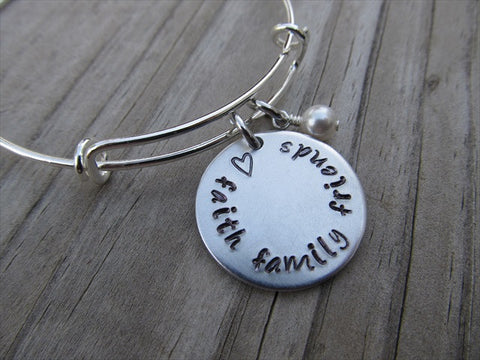 "Faith Family Friends Bracelet- ""♥ faith family friends"" - Hand-Stamped Bracelet- Adjustable Bangle Bracelet with an accent bead of your choice"