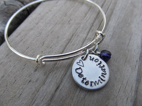 "Determination Inspiration Bracelet- ""♥ Determination"" - Hand-Stamped Bracelet- Adjustable Bangle Bracelet with an accent bead of your choice"