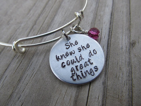 "Inspiration Bracelet- ""She knew she could do great things""- Hand-Stamped Bracelet  -Adjustable Bangle Bracelet with an accent bead of your choice"