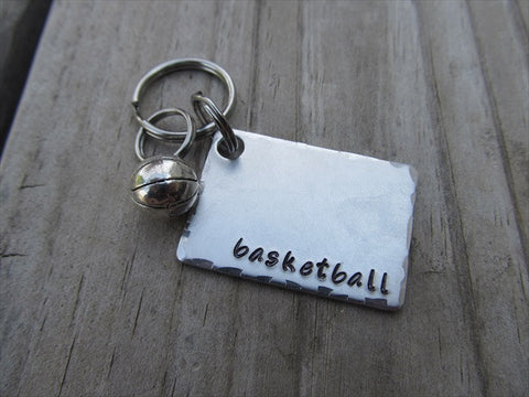 "Basketball Keychain- Gift For Basketball Fan- Keychain- with the name of your choice or ""basketball"" with basketball charm- Keychain"
