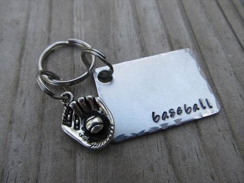 "Baseball Keychain- Gift For Baseball Fan- Keychain- with the name of your choice or ""baseball"" with baseball glove charm- Keychain"
