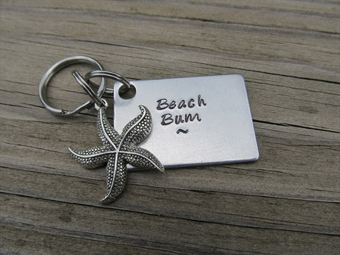 "Beach Bum Inspirational Keychain- ""Beach Bum"" with starfish charm  - Hand Stamped Metal Keychain"