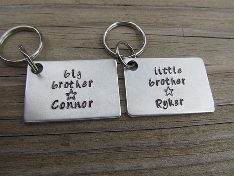 "Personalized Brother's Keychains- 2 Keychain Set- ""big brother"", ""little brother"" -each with a star and a name of your choice"