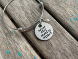 "Wishes Bracelet- ""never stop making wishes"" - Hand-Stamped Bracelet  -Adjustable Bangle Bracelet with an accent bead of your choice"