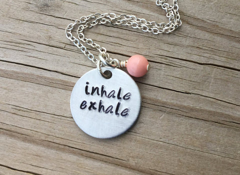 "Inhale Exhale Inspiration Necklace- ""inhale exhale""- Hand-Stamped Necklace with an accent bead in your choice of colors"