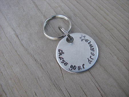 "Small Hand-Stamped Keychain ""chase your dreams"" with stamped star- Hand-Stamped Keychain- Small Circle Keychain - Hand Stamped Metal Keychain"
