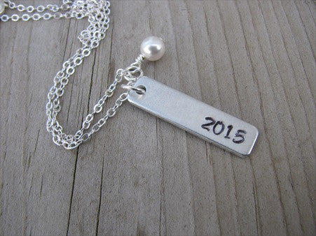 "Graduation Necklace ""2015""- Hand-Stamped Necklace with an accent bead of your choice- Gift for Grad"