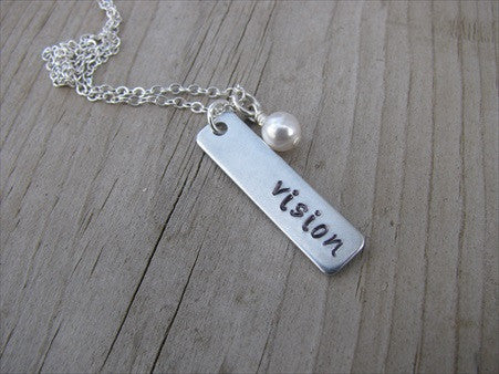 "Vision Inspiration Necklace ""vision""- Hand-Stamped Necklace with an accent bead of your choice"