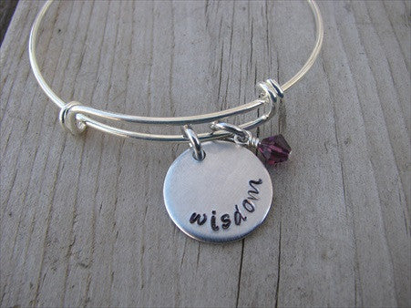 "Wisdom Inspiration Bracelet - ""wisdom"" Bracelet-  Hand-Stamped Bracelet- Adjustable Bangle Bracelet with an accent bead of your choice"