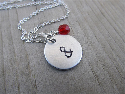 "Ampersand Necklace- ""&"" - Hand-Stamped Necklace with an accent bead in your choice of colors"