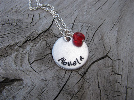 "Abuela Necklace- ""Abuela""- Hand-Stamped Necklace with an accent bead in your choice of colors"