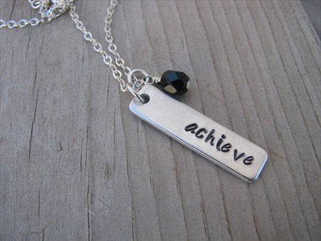 "Achieve Inspiration Necklace ""achieve""- Hand-Stamped Necklace with an accent bead of your choice"