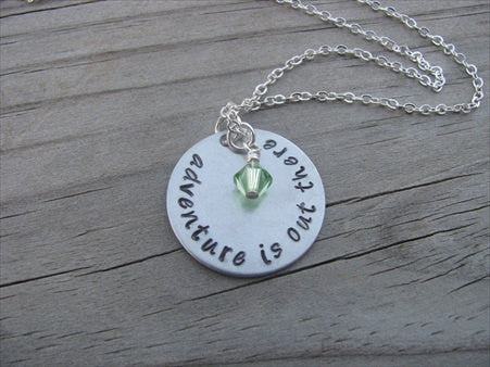 "Adventure Quote Inspiration Necklace- ""adventure is out there"" - Hand-Stamped Necklace with an accent bead in your choice of colors"