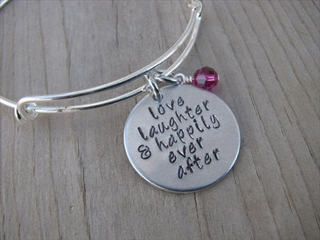 "Wedding/Anniversary Bracelet- ""love laughter & happily ever after""  - Hand-Stamped Bracelet- Adjustable Bangle Bracelet with an accent bead of your choice"