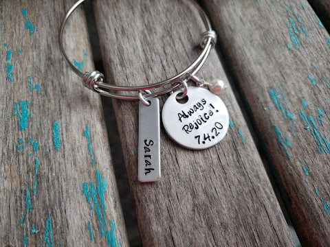 "Personalized Always Rejoice Bracelet- ""Always Rejoice!"" with a date, name charm, and accent bead of your choice - Hand-Stamped Bracelet"